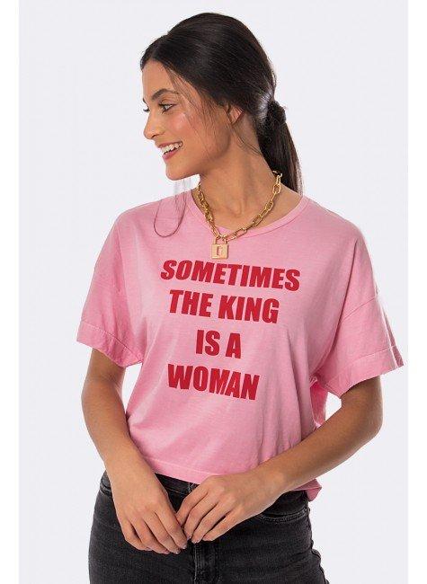 camiseta estonada sometimes the king is a woman rosa 20353 3