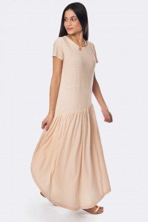 vestido midi com babado diagonal nude 20327 3