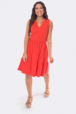 vestido curto decote v com babados vermelho 20329 1