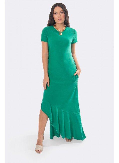 vestido longo com fenda lateral e babado na barra verde 20330 1